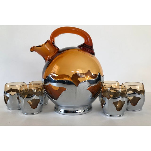 Chrome Farber Bros. Mid-Century Modern Krome-Kraft Decanter & Glasses - 7 Pc. Set For Sale - Image 7 of 7