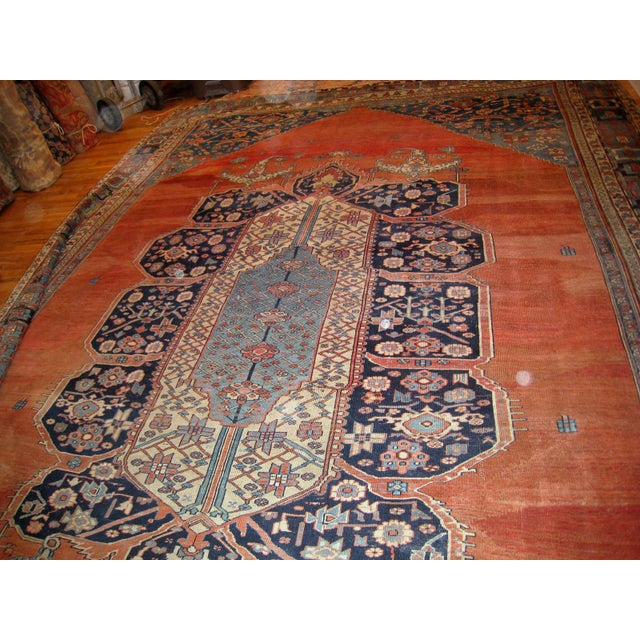 1880s, Handmade Antique Persian Bakshaish Rug 11' X 15.7' For Sale - Image 9 of 10