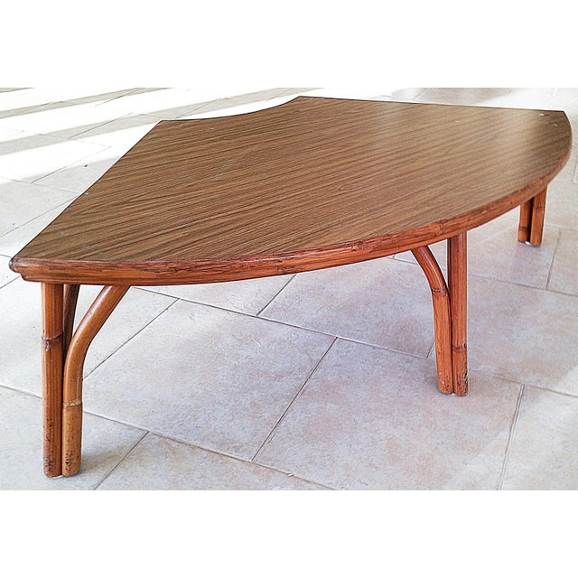 Midcentury Rattan Bamboo Coffee Table For Sale - Image 4 of 8