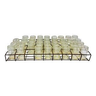 Antique Iron Rack & Glass Jar Set - Set of 35 For Sale