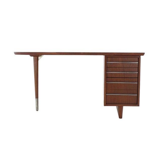 Unusual Oval Shape Walnut Partners Extra Deep Desk Long Metal Stip Shape Pulls For Sale - Image 9 of 9