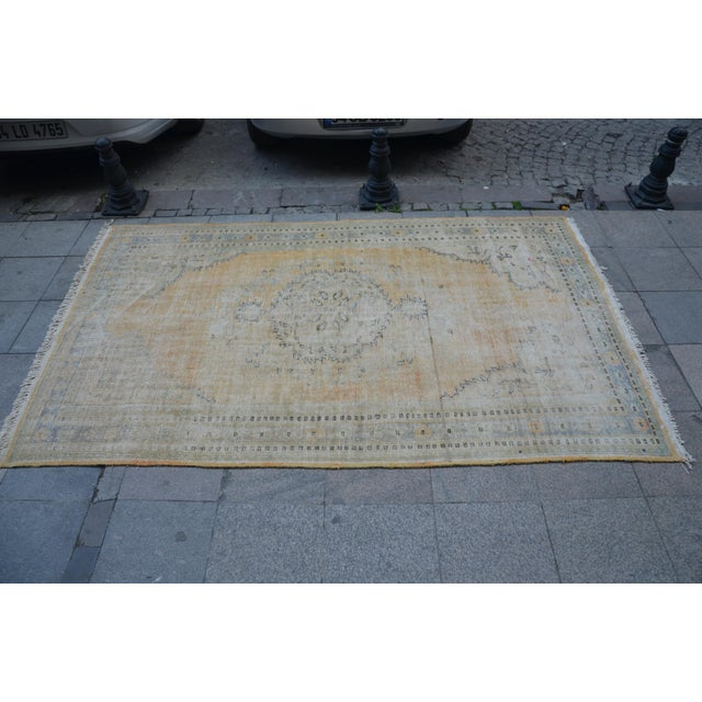 """Faded Bohemian Turkish Area Carpet - 69"""" x 110"""" For Sale - Image 4 of 7"""