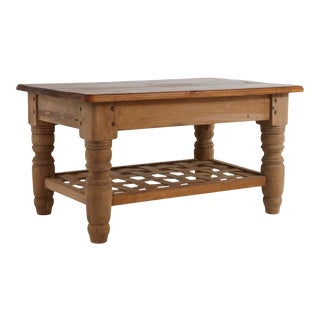 Rustic Country Style Rectangular Pine Cocktail Table With Woven Lattice Shelf For Sale