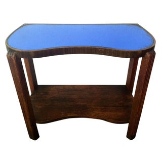 Vintage Blue Glass Side Table For Sale