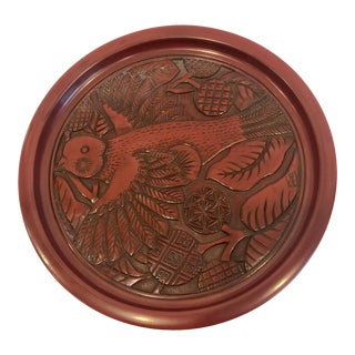 Vintage Carved Wood Lacquer Japanese Tea Tray Plate With Bird For Sale