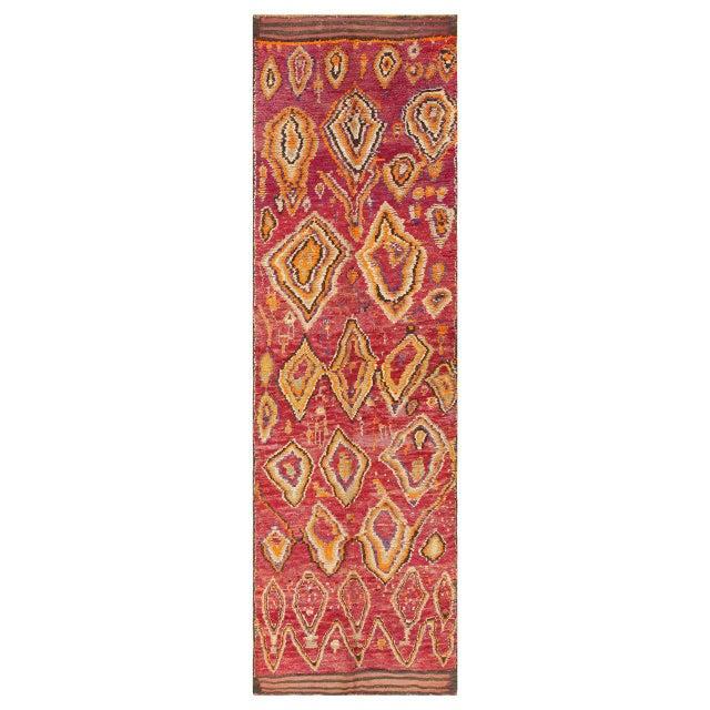 Textile Vintage Moroccan Primitive Runner Rug - 4′5″ × 13′ For Sale - Image 7 of 7