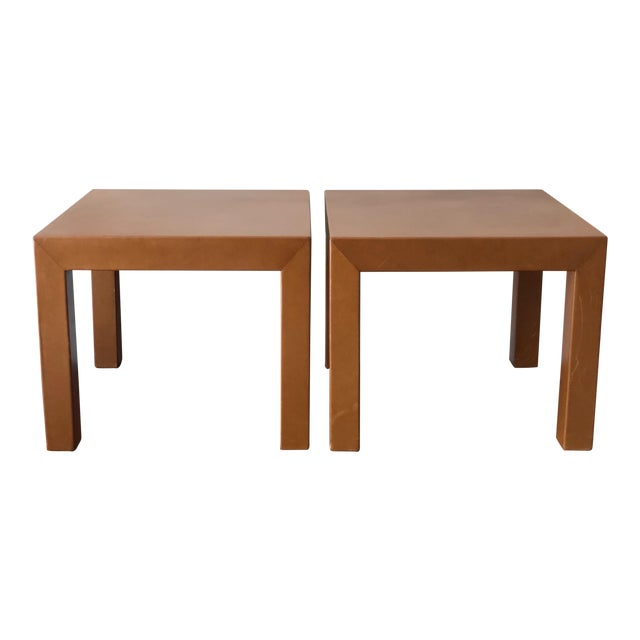 A Pair of Classic Leather Occasional Tables For Sale