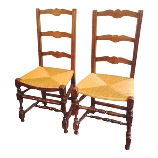 2 Ladderback Chairs Rush Seats France C 1910 For Sale