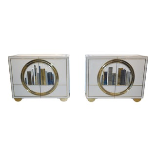 Italian Contemporary Bespoke Ivory Glass Cabinets - A Pair For Sale