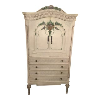 19th/20th Century French Louis XVI/Swedish Gustavian Style 4-Drawers Painted Armoire For Sale