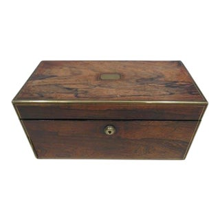 Tea Caddy With Brass Inlay & Cut Glass Bowl For Sale