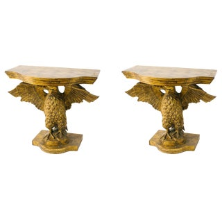 1970s Regency Style Carved Giltwood Eagle Consoles - a Pair For Sale