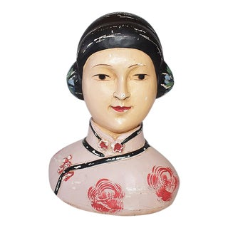 Chinoiserie Asian Chalkware Bust of a Woman in Pink Attributed to Esther Hunt 1920s For Sale
