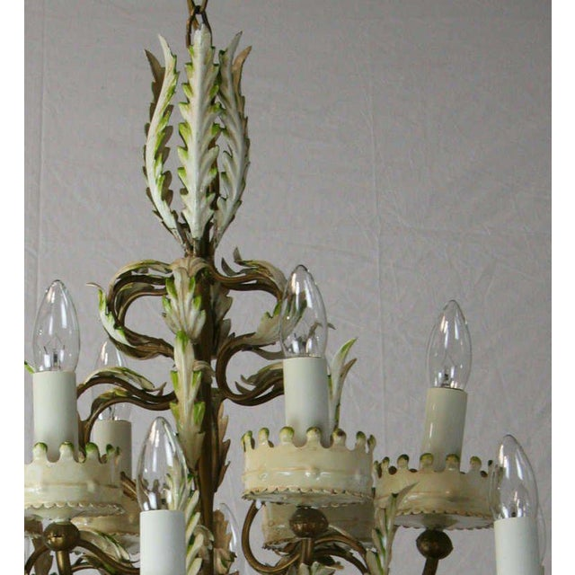 Early 20th Century Large Italian Tole Chandelier For Sale - Image 5 of 6