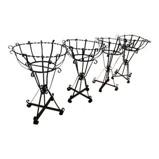 Final Markdown Mid-Century Wrought Iron Basket Planters With Liners - Set of 4 For Sale