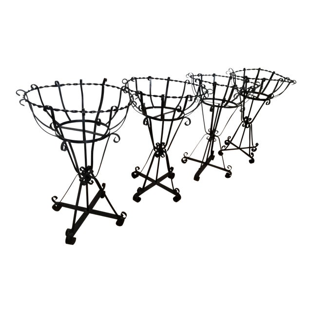 Mid-Century Wrought Iron Basket Planters - Set of 4 For Sale