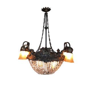 Swedish Art Nouveau Beaded Crystal Basket Form Bronze Chandelier Preview