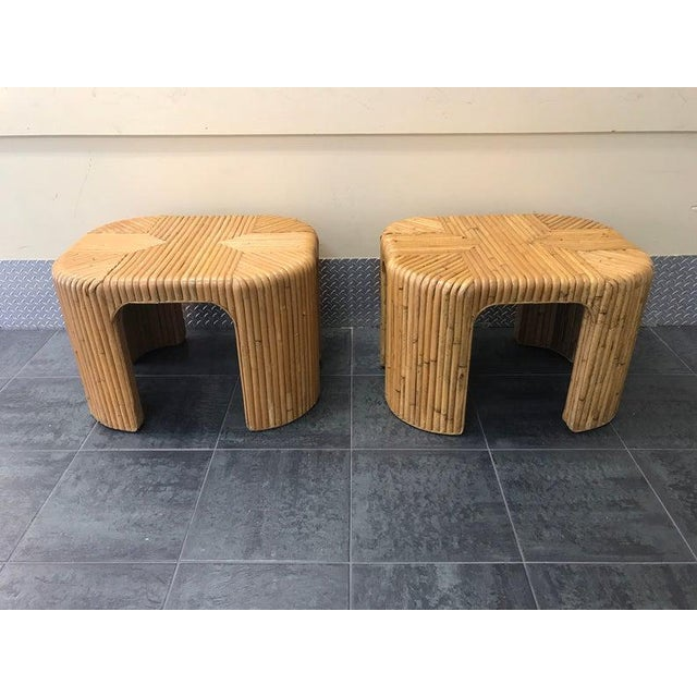 Gabriella Crespi Gabriella Crespi Style Split Reed End Tables - a Pair For Sale - Image 4 of 4