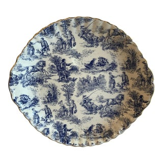 Blue & White Staffordshire Toile Platter For Sale