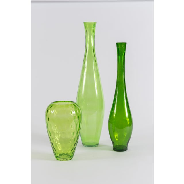 1900s Contemporary Sculptural Green Vases Set Of 3 Chairish