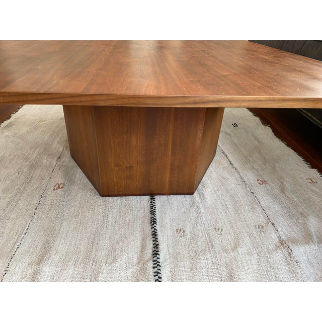 Mid-Century Danish Modern Walnut Square Coffee Table Octagonal Base For Sale - Image 4 of 11
