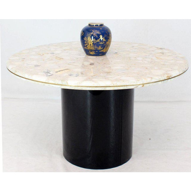Harvey Probber Round Marble Top Cylinder Base Center Conference Gueridon Dining Table For Sale - Image 4 of 10