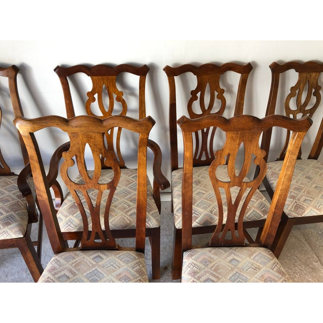 Chippendale Thomasville Dining Chair Set (6) Fruitwood Excellent For Sale - Image 3 of 9