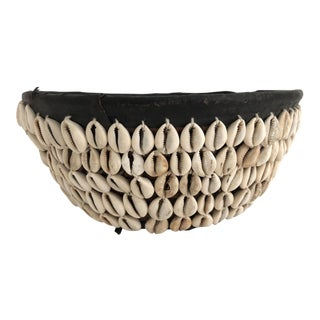 Antique African Cowrie Shell Basket