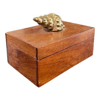 1980s Wood and Brass Shell Box For Sale
