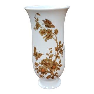 Mid 20th Century Kaiser Porcelain Gilded Butterfly Floral Vase For Sale