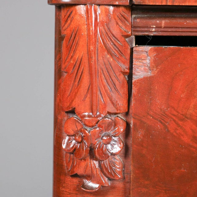 Antique American Empire Flame Mahogany Carved Slant Front Secretary 19th Century For Sale - Image 6 of 10