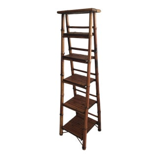 1990s Art Nouveau Tall Bamboo Folding Bookcase For Sale