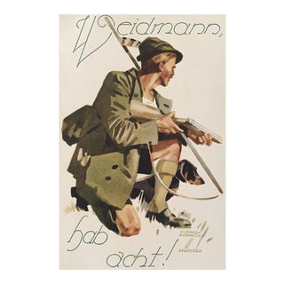 1927 German Art Deco Mini Poster, Weidmann Hunting For Sale