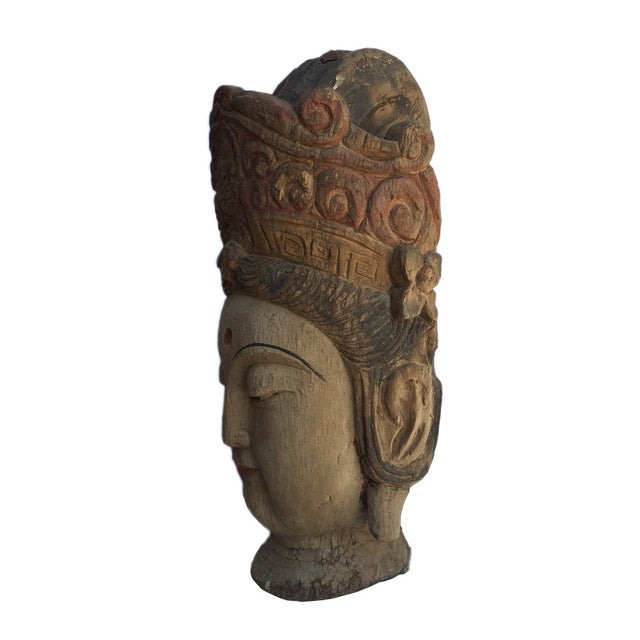 Chinese Rustic Wood Bodhisattva Head Statue - Image 4 of 5