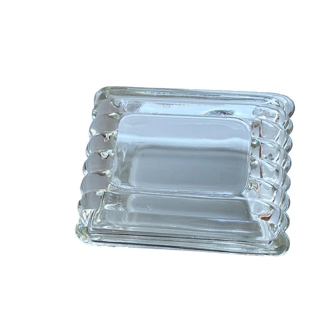 Mid Century Ribbed Glass Box For Sale - Image 4 of 8
