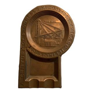 1930s 1934 Deco Copper Ashtray For Sale