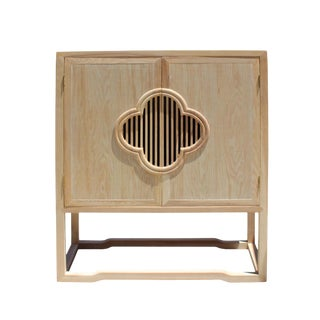 Minimalist Light Raw Wood Shutter Doors Credenza Storage Cabinet For Sale