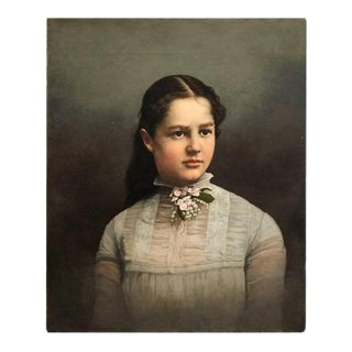 19th Century Young Lady Oil Painting