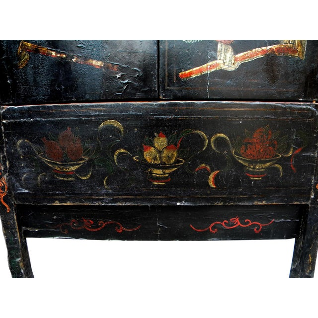 19th Century Chinoiserie-Style Black Elm Cabinet For Sale - Image 9 of 11