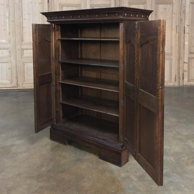 19th Century French Gothic Solid Walnut Armoire ~ Bonnetiere For Sale - Image 9 of 13