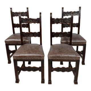 19th Century Spanish Revival Chairs W/Leather Upholstery-Set of 4 For Sale