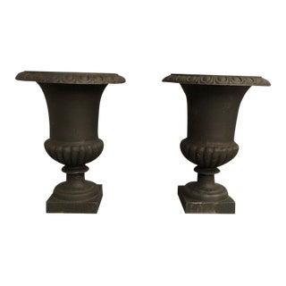 Vintage Cast Iron Black Urns - a Pair For Sale