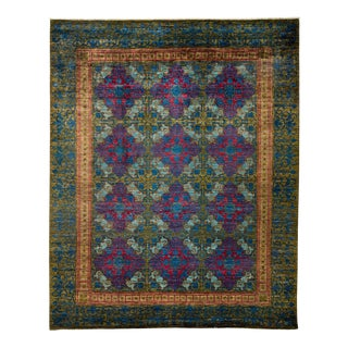 "Suzani, Hand Knotted Victorian Style Wool Area Rug - 8' 1"" X 10' 1"" For Sale"