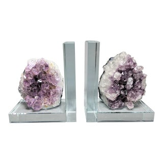 Organic Modern Amethyst Geode and Crystal Bookends - a Pair For Sale