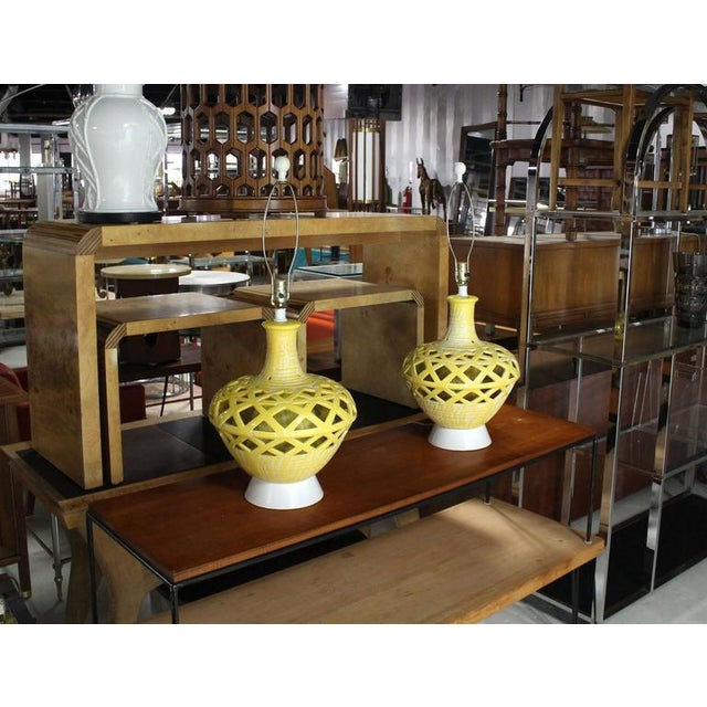 Mid-Century Modern Pierced Yellow Glaze Pottery Lamps - A Pair For Sale - Image 10 of 10