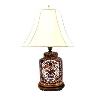 1960s Asian Hand Painted Ginger Jar Lamp For Sale