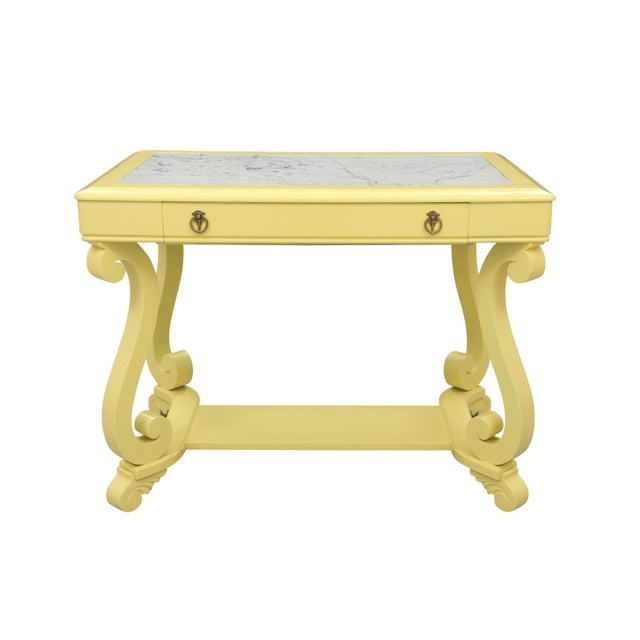 Neoclassical Style Yellow Marble Top Hall Table For Sale - Image 10 of 10