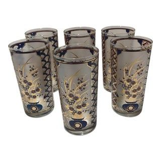 Culver Ltd. Asian Imari Design Glasses - Set of Six For Sale