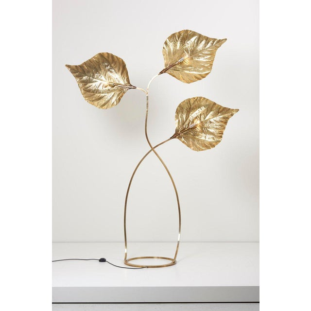 Tommaso Barbi 1 of 2 Huge Three Rhubarb Leaves Brass Floor Lamp by Tommaso Barbi For Sale - Image 4 of 13