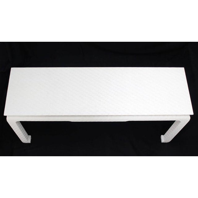 Grass Cloth Covered White Lacquer Console Sofa Table by Baker For Sale - Image 6 of 10